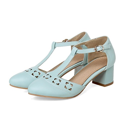 VogueZone009 Women's Closed Pointed Toe Buckle PU Solid Kitten-Heels Sandals Blue V2oSVLITl