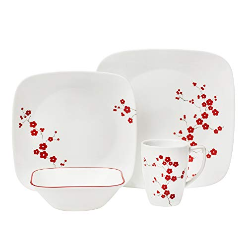 (Corelle Square Hanami Garden 16-Piece Dinnerware Set, Service for 4)