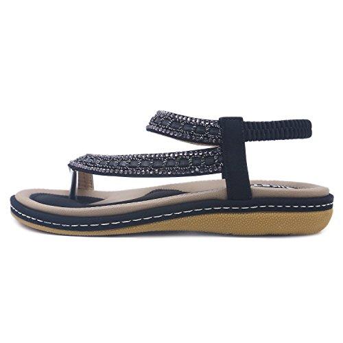de Sandalias Sandalias Playa Moda Mujeres Las Negro Tamaño Casuales Más Sandalias Romanas Flops Bohemia el CARETOO Zapatos Flip de Ladies de de q4Wd5PXn