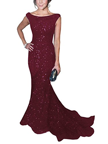 SOLOVEDRESS Women's Mermaid Sequined Formal Evening Dress for Wedding Prom Gown (US 14,Burgundy) ()