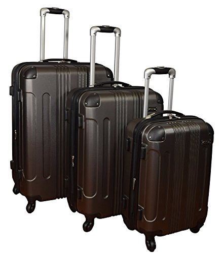 Kemyer Series 650 Hardside Luggage Spinner Wheeled 3 Pc Suitcase Set 28, 24 & 20 inch (Gray)