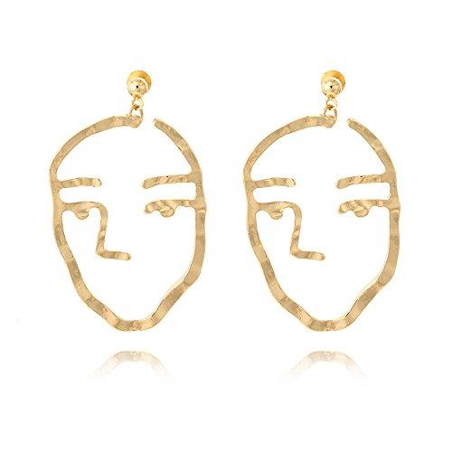 Sujarfla Hollow Face Shaped Earrings Statement Earrings - Shaped Face
