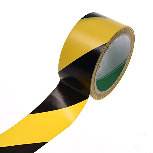 Cosmos Adhesive Black and Yellow Color Hazard Warning Safety Stripe Tape, 1-7/8