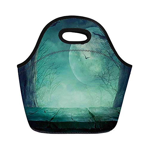 (Halloween Decorations Durable Lunch Bag,Spooky Forest Moon and Vain Branches Mystical Haunted Horror Rustic Decor for School Office,11.0
