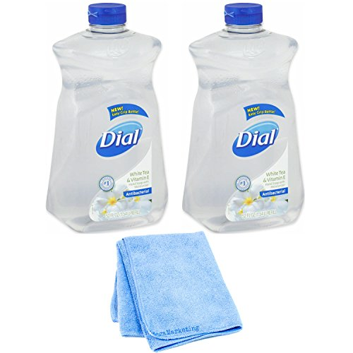Dial Liquid Hand Soap, White Tea/Vitamin E, 52 Ounce Refill, 2-Pack with Cleaning Cloth