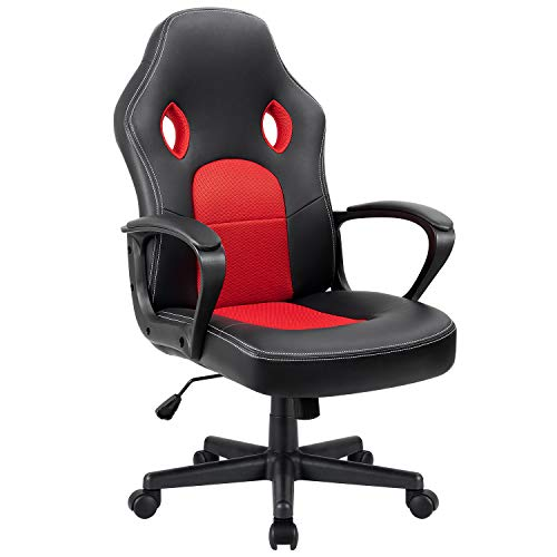 Furmax Office Chair Leather Desk Gaming Chair, High Back Ergonomic Adjustable Racing Chair,Task Swivel Executive Computer Chair Headrest and Lumbar Support (Red)