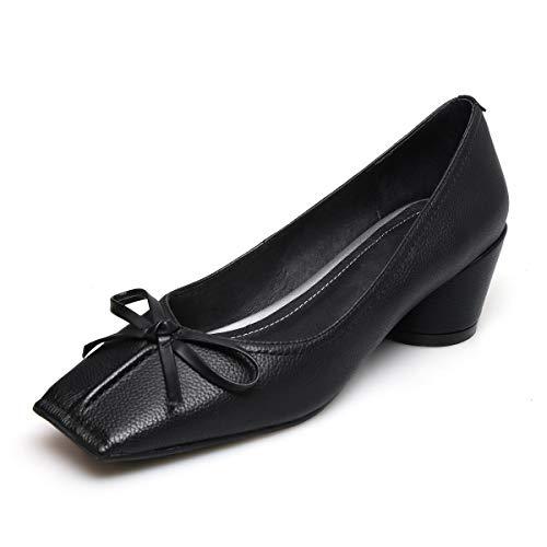 La L'extrieur Mode paisse Bas Chaussures Noeud L'intrieur Cuir Femmes De Papillon Simple Smilinggirl Noir Les Individuelles Talon Complet Et Pour Aider Proximit Carr Tte 6awwSZx7