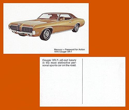 1970 MERCURY COUGAR XR-7 2-Door HARDTOP VINTAGE COLOR POSTCARD - USA - FABULOUS ORIGINAL POST CARD !! ()