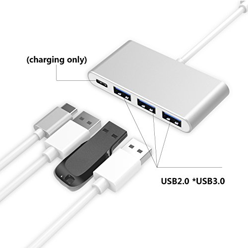 4-in-1 USB-C Hub with Type C, USB 3.0, USB 2.0 Ports for New Apple MacBook 12'' / New MacBook Pro 13'' 15'' / ChromeBook Pixel and other devices, Multiport Charging & Connecting Adapter-Silver by Exulight (Image #1)