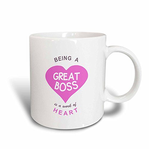 3dRose 183854_1 Work of Heart-Super Awesome Good Boss Quote Ceramic Mug, 11 oz, White