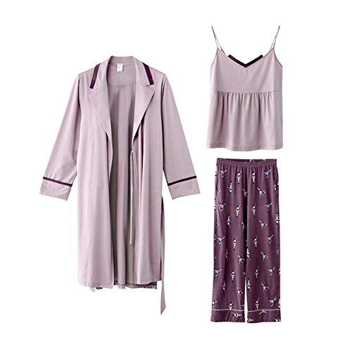 Donna Pieces In Pajamas Set Three Sleepwear Lingerie Fashion Maniche Tute Nightwear Pantaloni Tagliati HAOLIEQUAN Viola Per Summer Senza Seta Slip 7IwEzxqX
