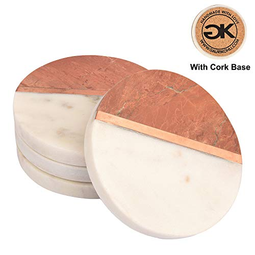 GAURI KOHLI Beautiful White Marble Coasters with Rosso Alicante Brown Stone and Cork Backing; Embellished with Rose Gold Inlay (Large Size | Set of 4)
