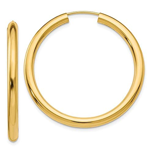 Large 14K Yellow Gold Wide Thick Continuous Endless Hoop Earrings, (3mm Tube) (36mm) 3 Mm Thick Tube