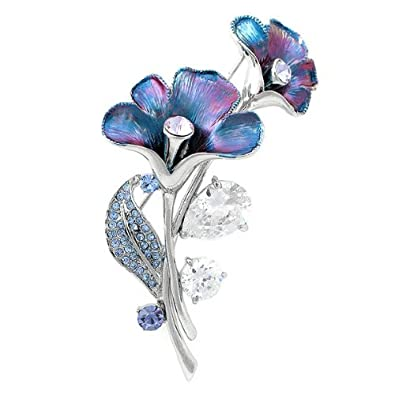 NEW BOXED Silver Bouquet Dangle Flower Brooch Blue & AB Crystals IN BLACK PRESENTATION BOX UK SELLER M3QtyhAm