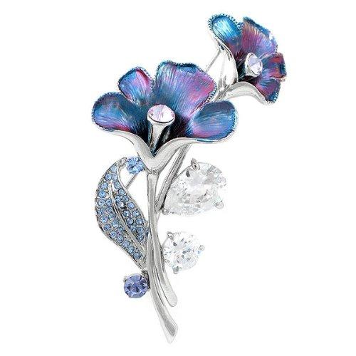 Glamorousky Violacé Broche Fleur Bleu Avec Bleu, Pourpre Des Cristaux D'Élément De autrichien Et Cz Argent (4949) Glamorousky-1000004949
