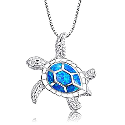 """Victoria Jewelry [Health and Longevity] 925 Sterling Silver Created Blue Opal Sea Turtle Pendant Necklace 18"""", Birthstone Jewelry for Women(Blue) from Aoran"""