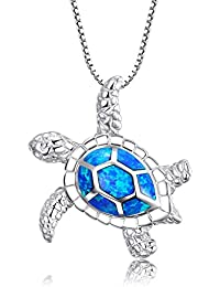 "[Health and Longevity 925 Sterling Silver Created Blue Opal Sea Turtle Pendant Necklace 18"", Birthstone Jewelry for Women(Blue)"