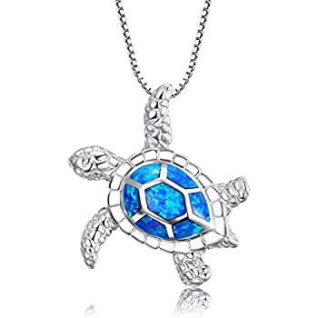 d6c33648b Victoria Jewelry [Health and Longevity 925 Sterling Silver Created Blue Opal  Sea Turtle Pendant Necklace 18