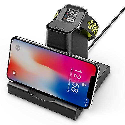 2 in 1 for Fitbit Versa Charger,Hagibis Replacement Charging Dock Station with Cell Phone Holder Stand Charging Clip for Fitbit Versa Accessories (Black)