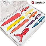 Appetitissime Swiss Q Cuchillos con Revestimiento, Acero Inoxidable, Multicolor, 37,5 x 3,5 x 25 cm, 6 Unidades