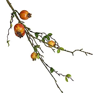 MARJON FlowersNew Merry Christmas Fake Artificial Rose Fruit Pomegranate Berries Bouquet Floral Garden Home Decor (Orange) 1
