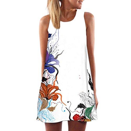 Vestido de Verano de Mujer, Dragon868 2018 Las Mujeres de Verano Vintage sin Mangas 3D Estampado Floral Vestido Corto para la Playa Blanco 4