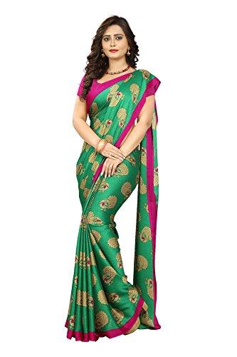 Jaanvi fashion Women's Peackock Printed Crepe Silk Kalamkari Printed Saree (Green)