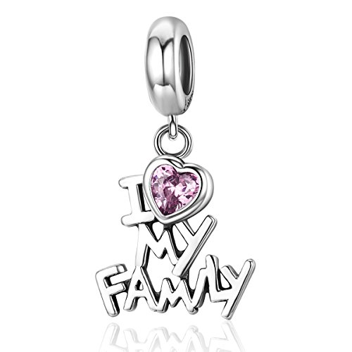 (BAMOER 925 Sterling Silver Family Love Charm for Snake Bracelet)