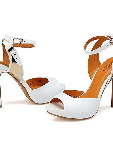 Denim Toe Scarpe Spillo Sandali Shangyi Da Tacco Open Bianco Peep A Meirie Di Nero Donna Bianco Casuale Toe Tacchi BCC6RWXwqx