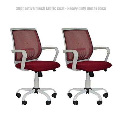Modern Office Desk Task Chair Mid Back Design Breathable-Mesh-Fabric Comfortable Armrests Heavy Duty Metal Base Ergonomic Design Executive Chair - Set of 2 Burgundy - Doncaster Town Shopping