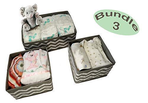 La Luna Sock Organizer Baby Nursery Closet Dresser Drawer Organizer Collapsible Fabric Cube Basket Bin Container Chevron Pattern Stylish Décor Set of 3