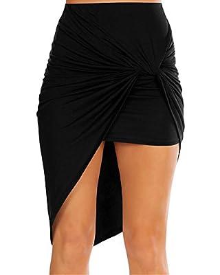 Emoyi Womens Black Drape Up Stretchy Asymmetrical High Low Short Mini Bodycon Pencil Skirt Skater