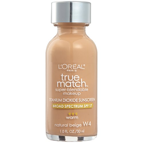 L'Oreal Paris Makeup True Match Super-Blendable Liquid Foundation, Natural Beige W4, 1 fl. oz. (Medium Beige Foundation)