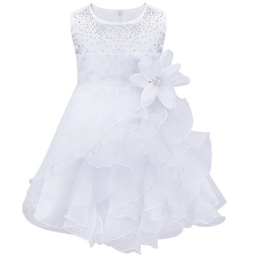 New Girls Christening Baptism Dress - FEESHOW Baby Girls Rhinestone Organza Flower Christening Baptism Party Dress White 3-6 Months