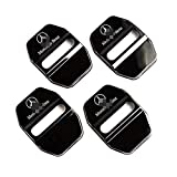 DEMILLO Stainless Steel Car Door Lock Latches Cover Protector for Mercedes GLK-Class,S-Class Maybach,A/C/CLA/GLA/G/M/S/SL-Class AMG, 3M Adhesive Backing( Pack of 4) (black)