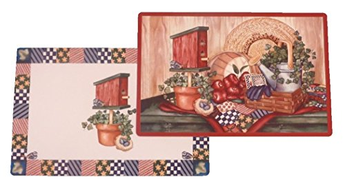 - 4 Country Sampler Reversible Washable Plastic Placemats