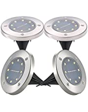 Mainstayae 4Pcs Solar Powered Energy Ground Light Outdoor Lamp IP65 Water-resistant 8 LED 20LM Path Garden Landscape Spike Lighting for Yard Driveway Lawn Pathway White/Warm White