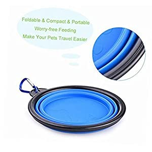 The Woof Collapsible Dog Bowl from Travel Size Fold-able Dish with Clip