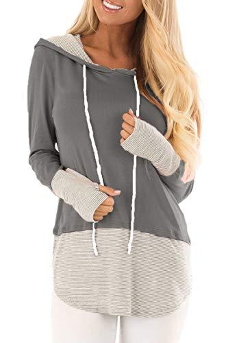QINSEN Ladies Plus Size Hooded Sweatshirt XXL Color Block Stripe Drawstring Hoodie Tops Grey