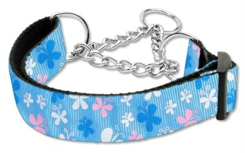 Mirage Pet Products Martingale Butterfly Nylon Ribbon Collar, Medium, Blue