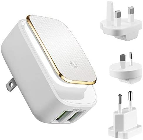 KeeKit USB Wall Charger, International Travel Charger Adapter (12W/2.4A) with LED Touch Night Light, USB Power Adapter Multi Port with US/UK/AU/EU ...