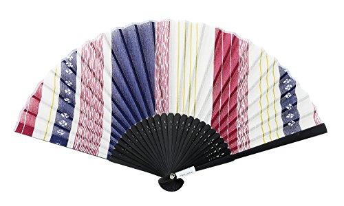 Japanese Handheld Folding Fan, with Japanese Sophisticated Art Prints Showa Kimono (Red)
