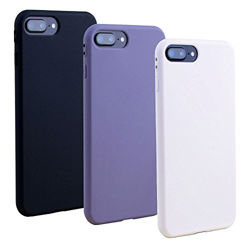 (3 Pcs Iphone 7 Plus case iphone 8 Plus Cover Case Matte Surface Solid Candy Colors Soft TPU Silicon Case 360 Degree Protection-White+Purple+Black)