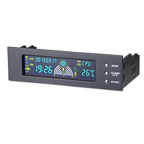 Amebay 5.25 Inch Bay Front LCD Panel 3 Fan Speed Controller CPU Temperature Sensor Computer