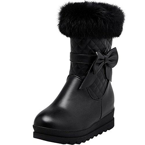 TAOFFEN Women Winter Half Zipper Snow Boots Flat Synthetic Fur Warm Boots Black