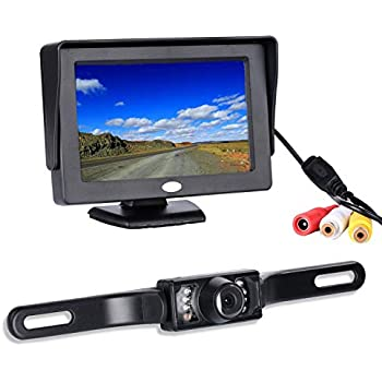 """Backup Camera and Monitor Kit,Chuanganzhuo 4.3/"""" Car Vehicle Rearview Mirror"""