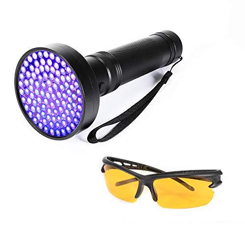 UV Flashlight Black Light, 100 LED 395-400nm Ultraviolet Blacklight Pet Urine Detector for Dog Cat Urine, Dry Stain, Bed Bug with Free UV Blocking Glasses