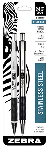 Executive Mechanical Pencil (Zebra M/F 301 Stainless Steel Mechanical Pencil and Ballpoint Retractable Pen Set, Fine Point 0.5mm Mechanical Pencil and Medium 1.0mm Black Ink Pen Set)