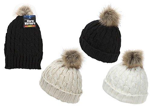 costine in Colori con Cappello bianca Alannahs a maglia Accessori in pompon incrociate 3 acrilico pelliccia BgwAxq7A0