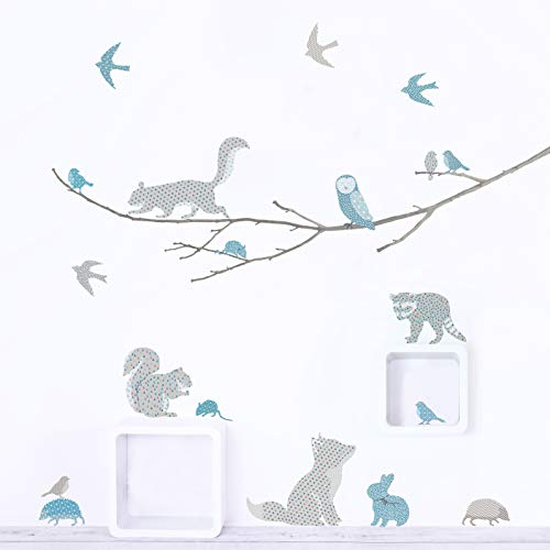 Woodland Animals on Branch Fabric Wall Decals ~ Wall Stickers for Baby Nursery and Children's Rooms. Reusable Decals Made of Fabric, not Vinyl ~ Free from BPA & Phthalates. (Blue & Gray, Small)